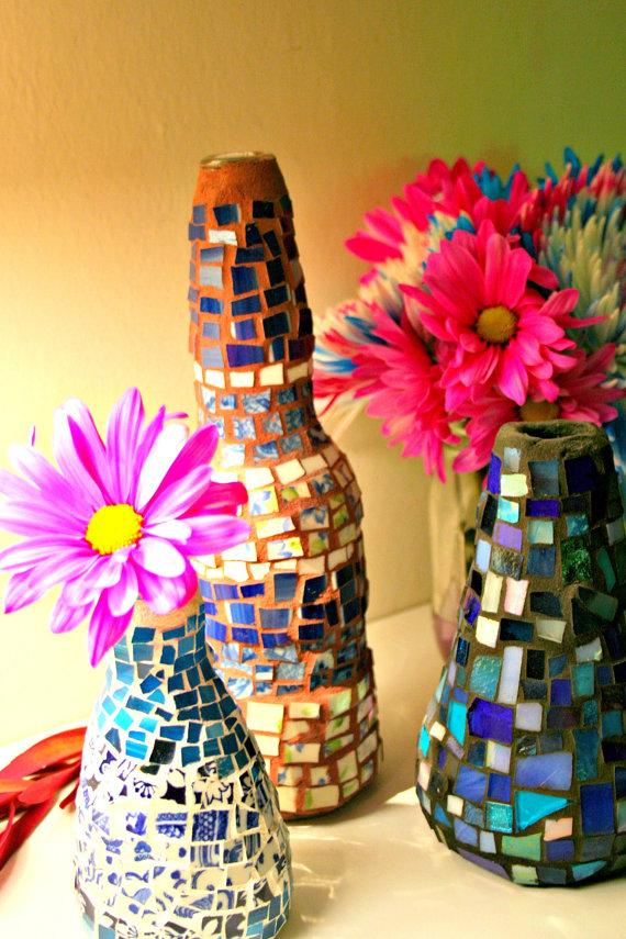 Mosaic Bud Vase Bottles