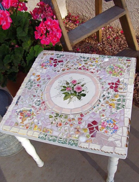 Mosaic Side Table with Broken China