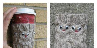 Owl Coffee Cozy FREE Knitting Pattern m