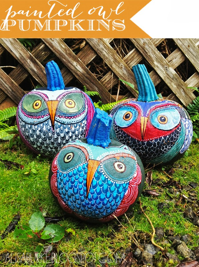 Painted Owl Pumpkins Tutorial