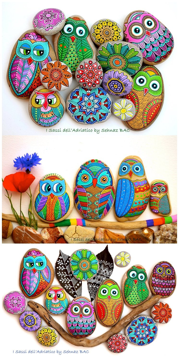 Painted owl rocks Art