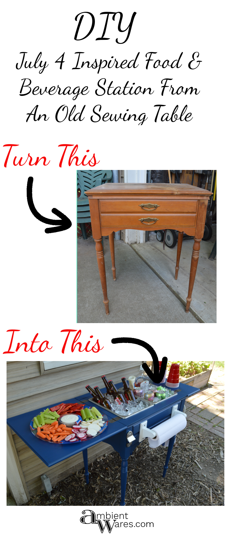 Party Station From An Old Sewing Table