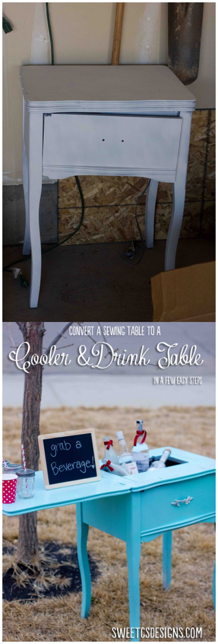 Sewing Table Turned Party Cooler & Drink Table