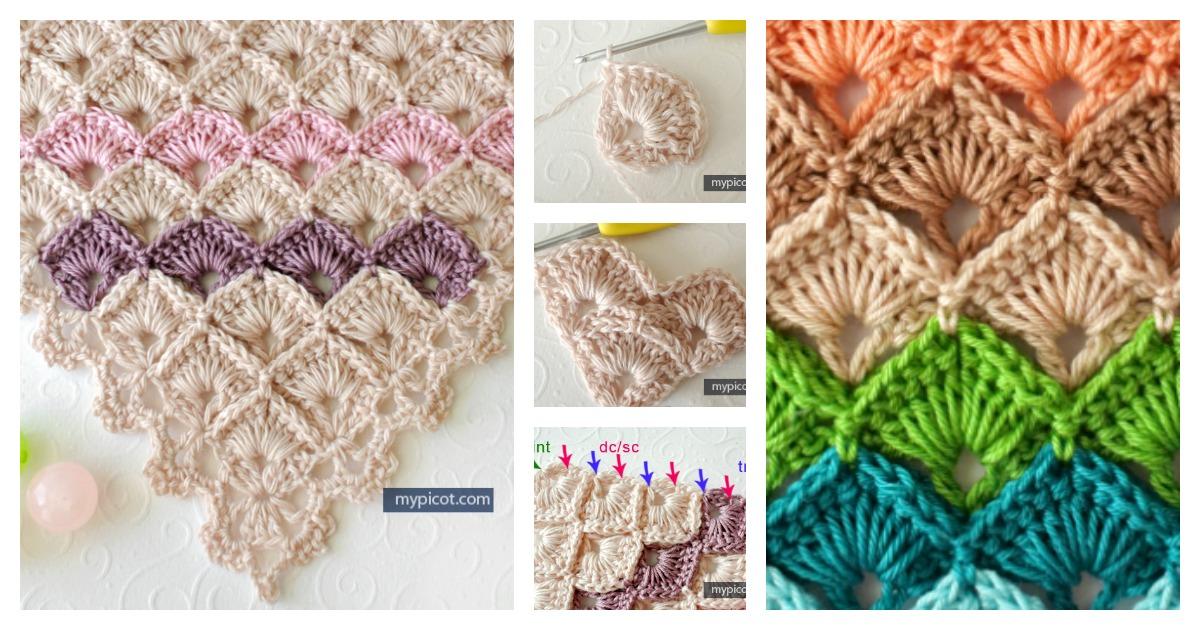Triangle Shawl Box Stitch Crochet Free Pattern