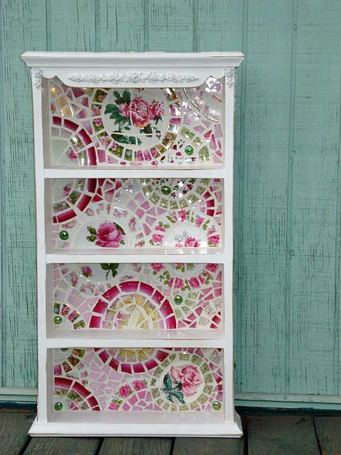 Vintage china mosaic shelf