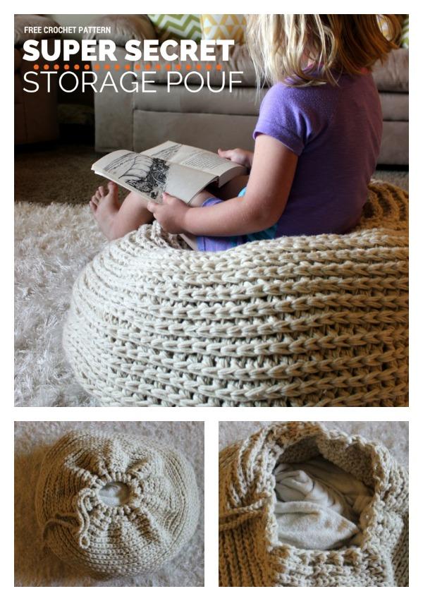 Super Secret Storage Pouf Free Crochet Pattern