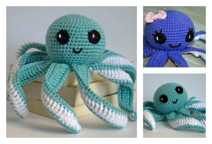 Free Easy Crochet Patterns For Baby Toys : Amigurumi Octopus Baby Toy Free Crochet Pattern