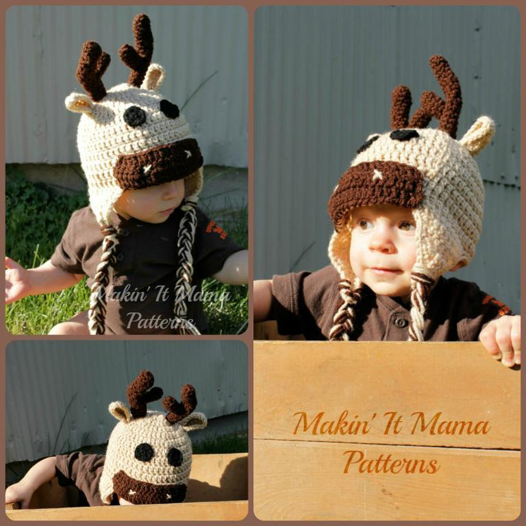 Crochet Deer Moose Hat Pattern