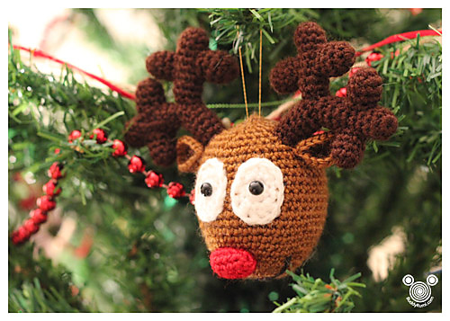 Crochet Rudolph Reindeer Ornament FREE Pattern