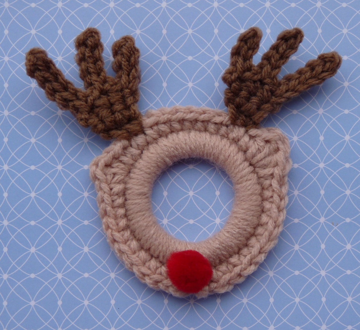 Crochet Rudolph the Red Nose Ring Ornament FREE Pattern