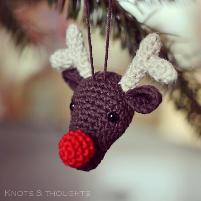 Crochet Rudolph the Reindeer Christmas Ornament Free pattern