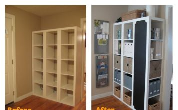 DIY Command Center with storage and Chalkboard -- IKEA Expedit Hack