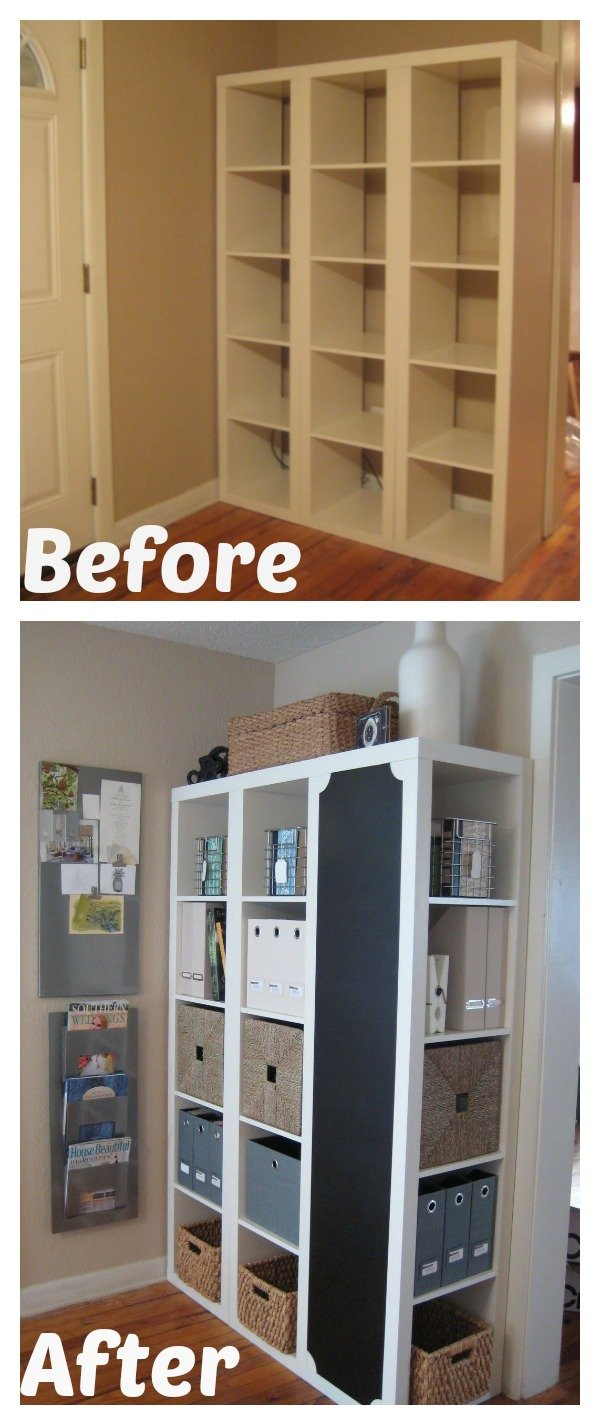 diy command center with storage and chalkboard ikea expedit hack. Black Bedroom Furniture Sets. Home Design Ideas