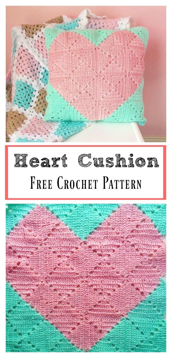 Heart Cushion Free Crochet Pattern Cool Creativities