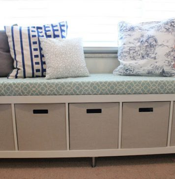 Bookcase to No-Sew Window Bench with Storages - IKEA hack