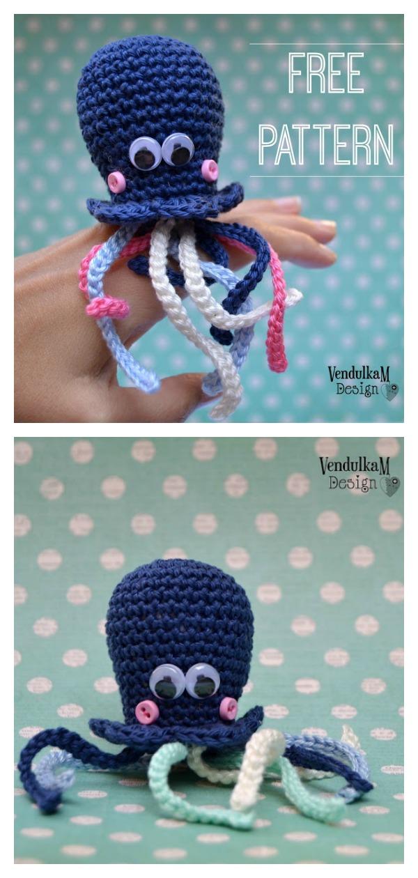 Little Octopus Keychain Free crochet pattern