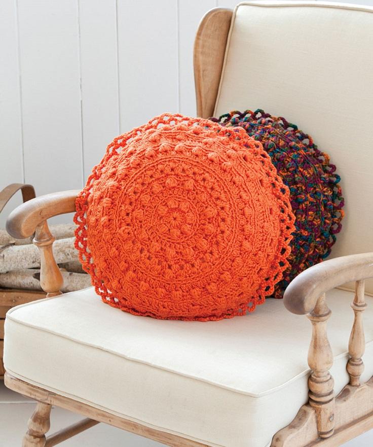 Puff Stitch Round Pillows FREE Crochet Pattern