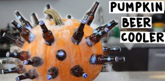 Creative Halloween Party Beverage Cooler Made Out of a Pumpkin