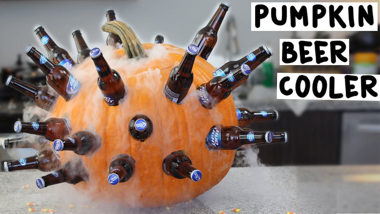 Halloween party beverage cooler made out of a pumpkin Pumpkin carving beer
