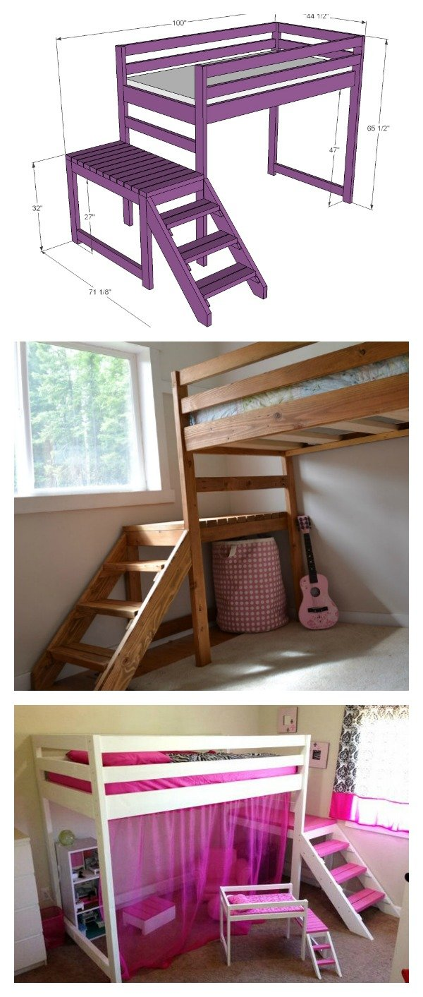 It's just a picture of Nifty Printable Full Size Loft Bed Plans