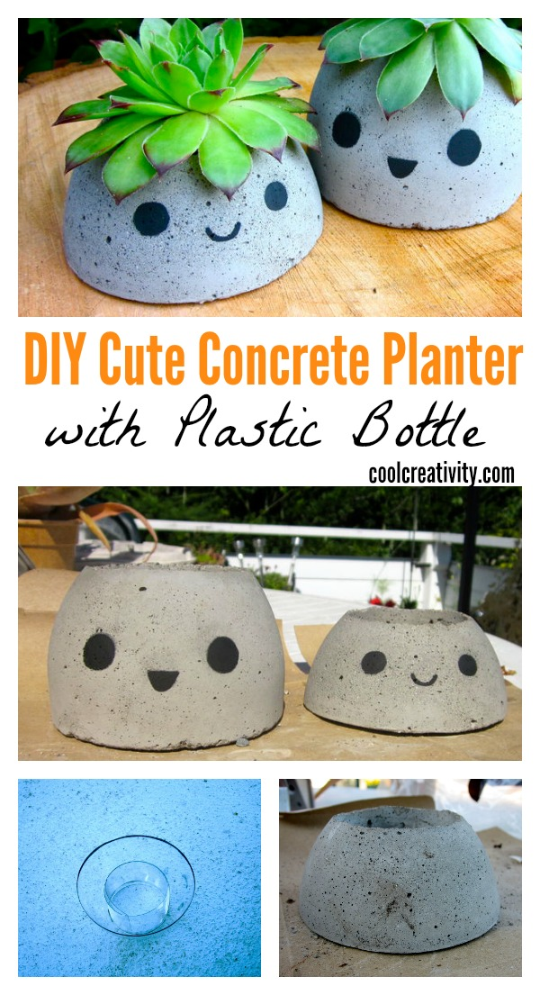 DIY Cute Concrete Planter with Plastic Bottle