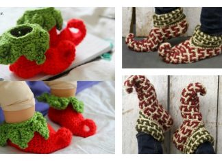 Adult and Baby Elf Slippers Free Crochet Patterns