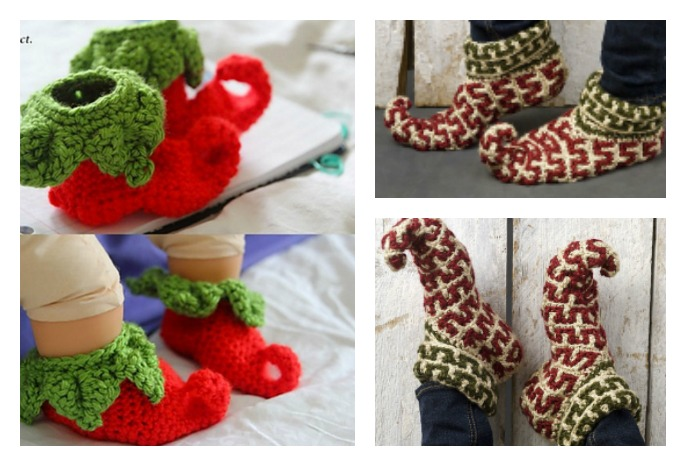 Adult And Baby Elf Slippers Free Crochet Patterns Cool Creativities