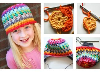 Granny Stitch Rainbow Beanie Hat Free Crochet Pattern