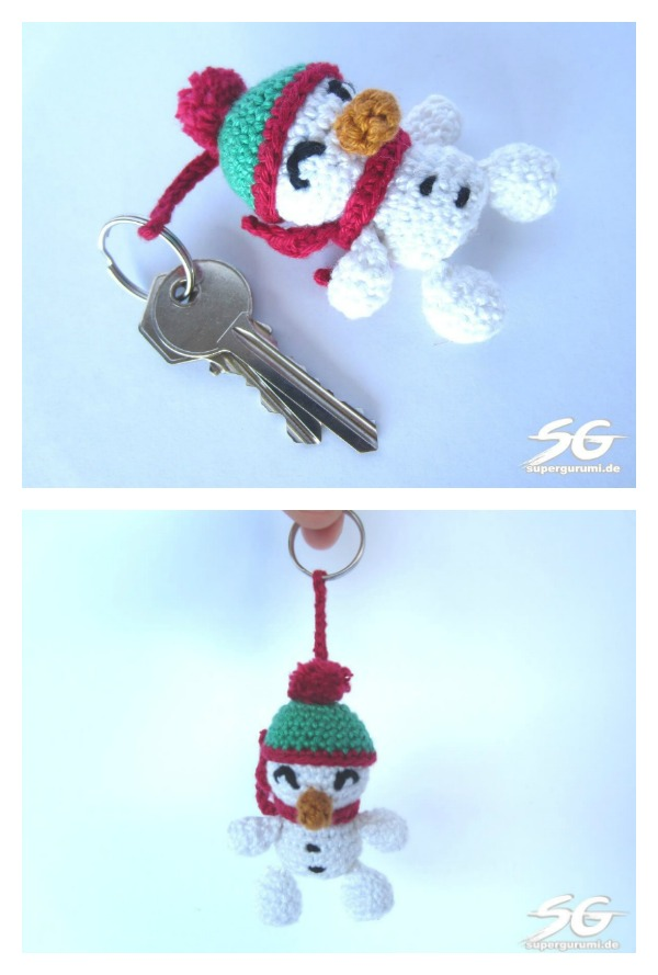 Amigurumi Crochet Snowman Keychain Free Pattern