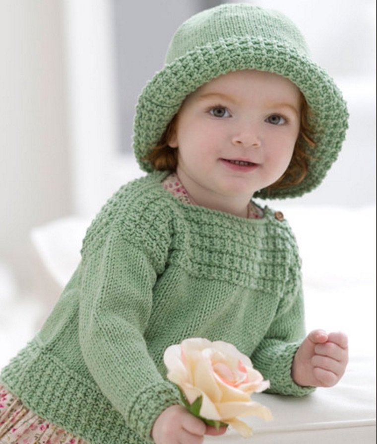 Baby Boat Neck Sweater And Sun Hat Free Knitting Pattern Cool