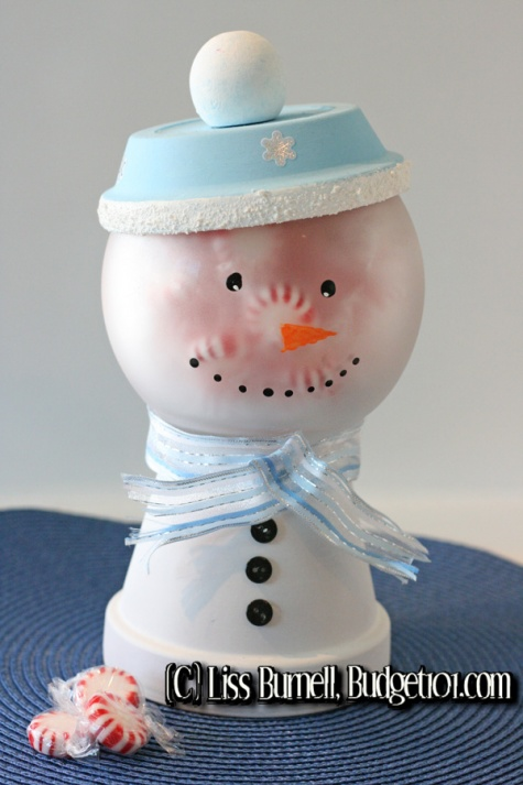 Clay Pot Frosty the Snowman Candy Jar Craft