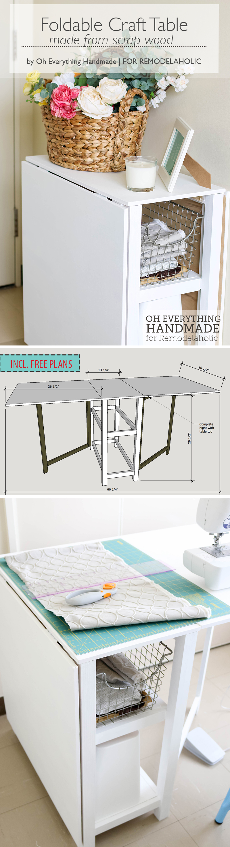 Diy foldable craft table - Small space sewing area style ...