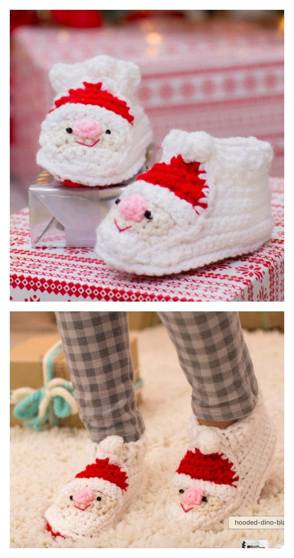 Crochet Child's Santa Slippers Free Pattern