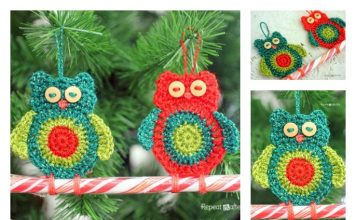 Crochet Owl Candy Cane Ornament Free Pattern