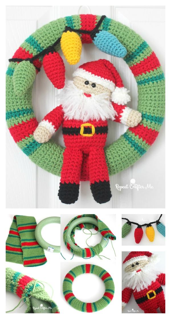 Crochet Santa Christmas Wreath Free Pattern Cool Creativities