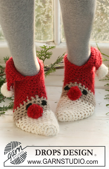 Crochet Santa Slippers Free Pattern for Adult and Kids