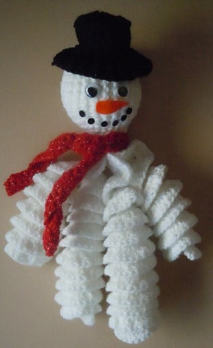Curly Snowman Ornament Free Crochet Pattern