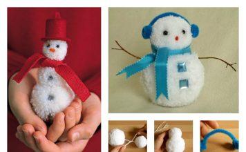 DIY Adorable Pom-Pom Snowman