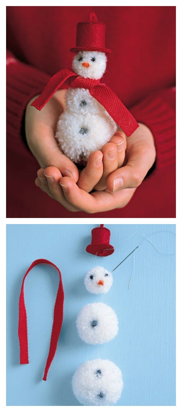 DIY Adorable Pom-Pom Snowman