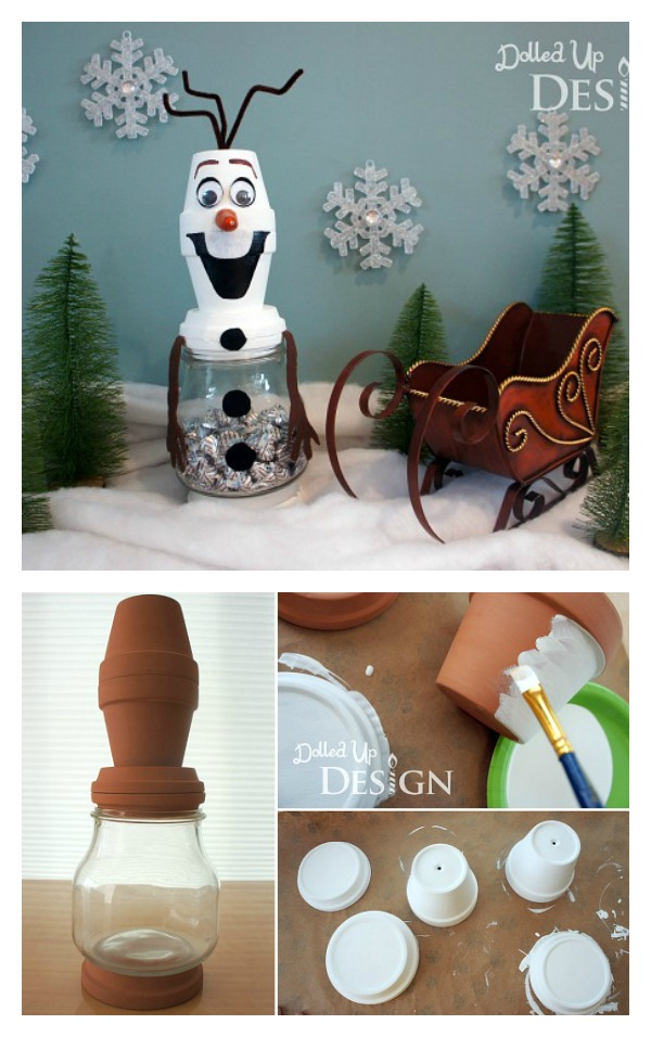 DIY Clay Pot Snowman Treat Filled Jar