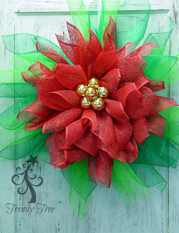 DIY Poinsettia Mesh Wreath