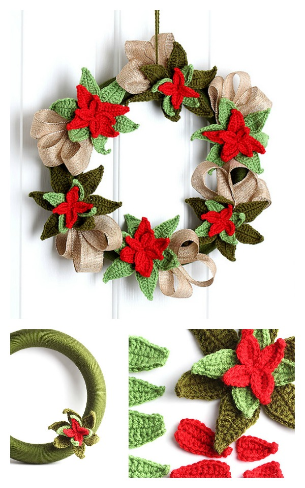 Free Christmas Poinsettia Wreath Crochet Pattern