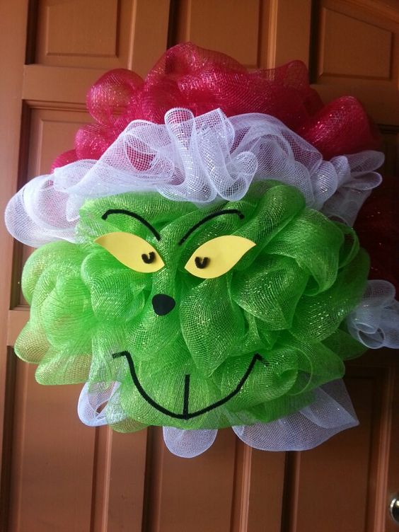 Grinch Christmas Deco Mesh Wreath Cool Creativities