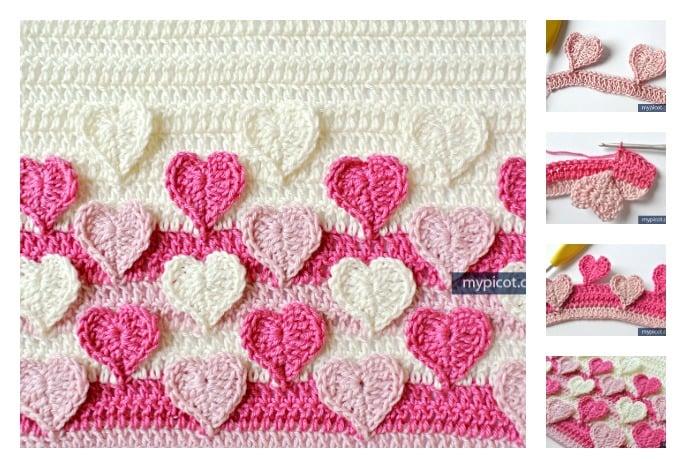 Hearts Multicolored Crochet Stitch Free Pattern m