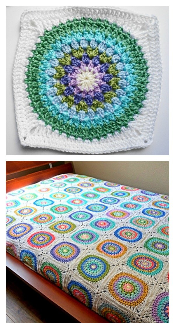 Large Circle in Square Blanket Free Crochet Pattern