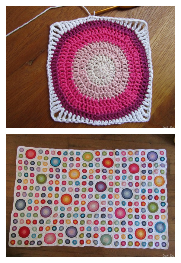 Large Circles in a Square Free Crochet Pattern and Tutorial