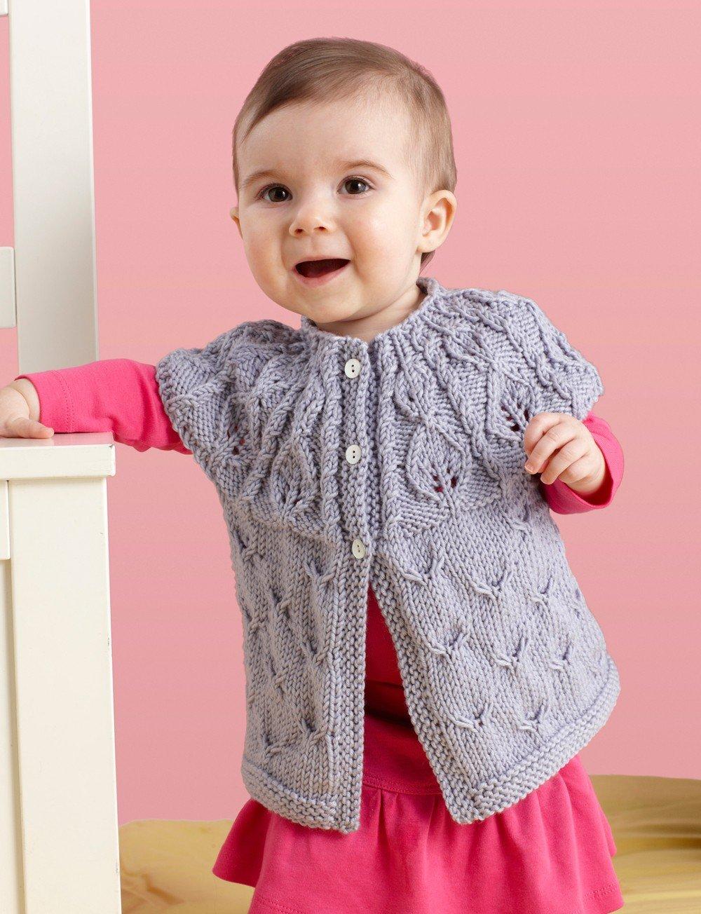 10 free baby sweater knitting patterns leaf yoke cardigan free knitting pattern bankloansurffo Images