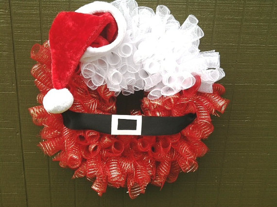 Santa Christmas Mesh Wreath