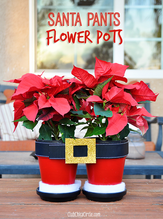 Santa Pants Poinsettia Flower Pots