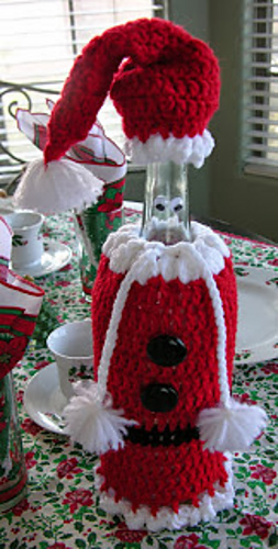 Santa Wine Bottle Cover Cozy Free Crochet Pattern Cool Creativities